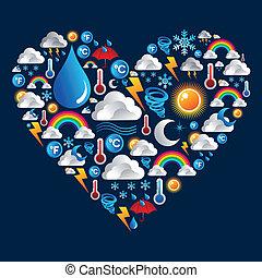 tiempo, forma corazón, conjunto, iconos