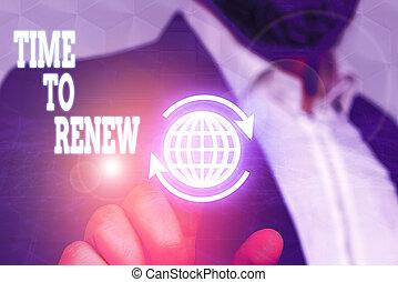 tiempo, foto, actuación, acquired, renew., empresa / negocio...