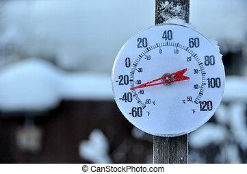 tiempo frío, termómetro