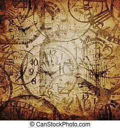 tiempo, grunge, watches., plano de fondo