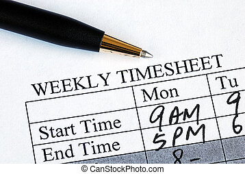 tiempo, hoja, entrar, semanalmente
