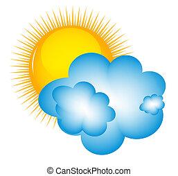 tiempo, iconos, con, sol, nube, y, termómetro