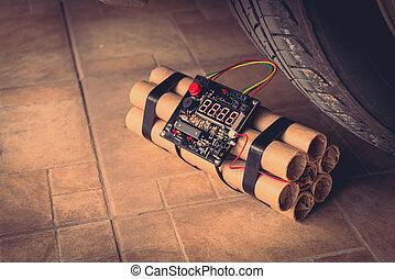 tiempo, imagen, filtrado, procesado, bomba, coche., effect., vendimia, rueda, tnt