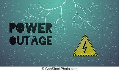 tiempo, lluvia, malo, banner., outage, potencia