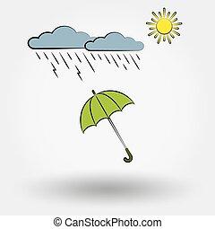 tiempo lluvioso, con, nubes, sol, y, umbrella.