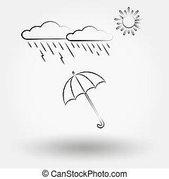 tiempo lluvioso, con, nubes, y, umbrella.