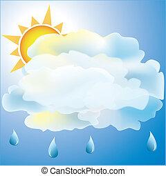 tiempo, nublado, lluvia, principalmente, icono