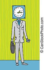 tiempo, obsesionado, /, empresa / negocio, sincronización