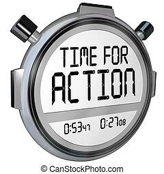 tiempo, para, acción, cronómetro, avisador, reloj, exigente, acto
