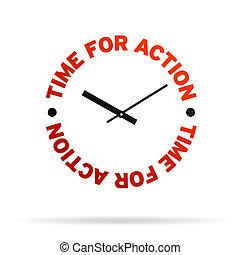 tiempo, para, acción, reloj