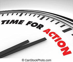 tiempo, para, acción, -, reloj