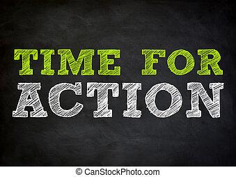 tiempo, para, acción