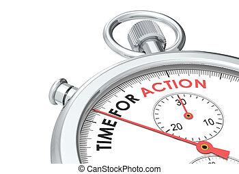 tiempo, para, action.