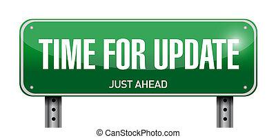 tiempo, para, actualización, muestra del camino, ilustración