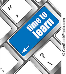 tiempo, para aprender, -, cicatrizarse, vista, en, conceptual, teclado