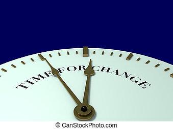 tiempo, para, cambio, reloj