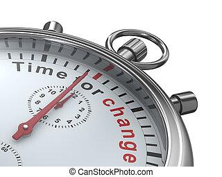tiempo, para, change., cronómetro, blanco, fondo., aislado,...