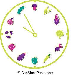 tiempo, para comer, sano, food:, aislado, blanco