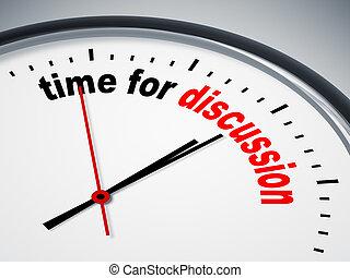 tiempo, para, discusión