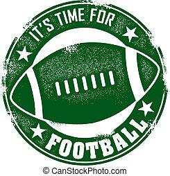 tiempo, para, fútbol, estampilla