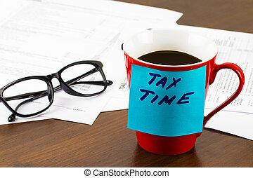 tiempo, para, impuestos, dinero, financiero, contabilidad, impuestos, concepto