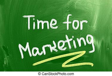 tiempo, para, mercadotecnia, concepto