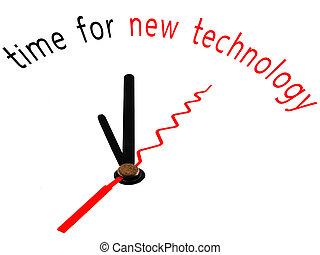 tiempo, para, nueva tecnología, reloj, concepto
