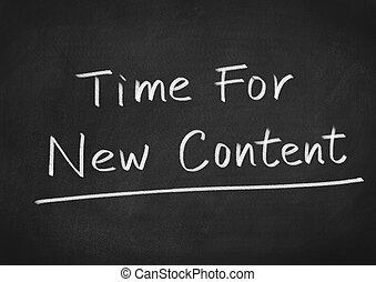 tiempo, para, nuevo, contenido