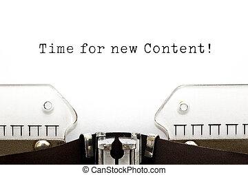 tiempo, para, nuevo, contenido, máquina de escribir