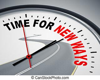 tiempo, para, nuevo, maneras