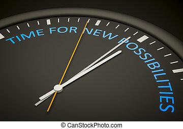tiempo, para, nuevo, posibilidades