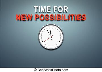 tiempo, para, nuevo, posibilidades, en, la pared