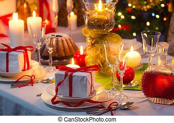 tiempo, para sentarse, alrededor, un, navidad, tabla