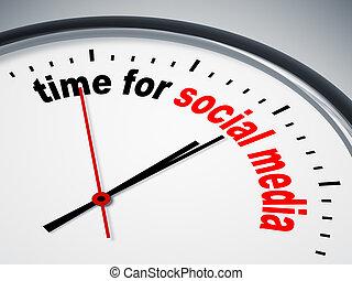 tiempo, para, social, medios