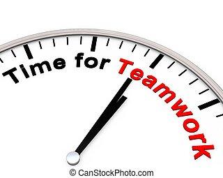 tiempo, para, trabajo en equipo