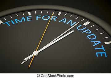 tiempo, para, un, actualización