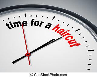 tiempo, para, un, corte de pelo