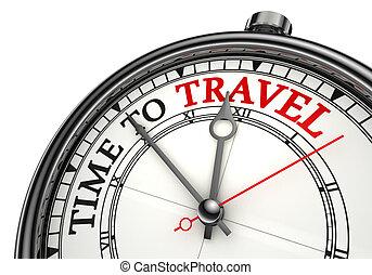 tiempo, para viajar, concepto, reloj