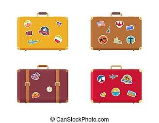 tiempo, para viajar, maleta, con, imanes, recuerdos