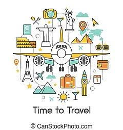 tiempo, para viajar, por, avión, arte de línea, delgado, vector, iconos, conjunto, con, avión, y, famoso, arquitectura de mundo