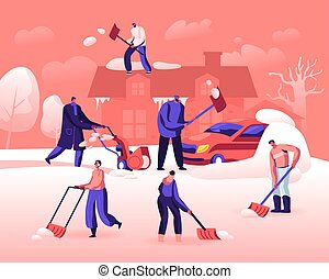 tiempo, plano, coche, invierno, utilizar, caricatura, snowfall., mover pala, snowblower, pala, vector, gente, calle., limpieza, nieve, feliz, después, ilustración, casa, actividad, techo, camino, caracteres, el quitar