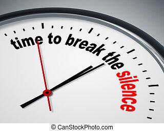 tiempo, romper, el, silencio