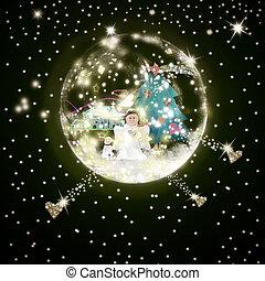 tiempo, saludo, ángel, tarjeta, navidad