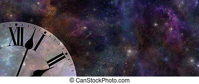 tiempo, sitio web, bandera, espacio