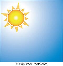 tiempo, soleado, icono
