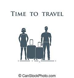 tiempo, travel., hombre, suitcases., mujer