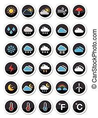 tiempo, vector, conjunto, redondo, iconos