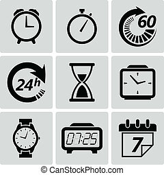 tiempo, vector, icons., ilustración, reloj