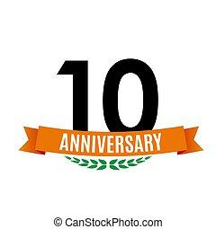 tien, achtergrond, jubileum, illustratie, jaren, vector, mal, lint