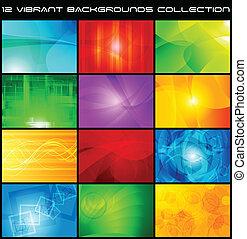 tien, achtergronden, abstract, -, eps, verzameling